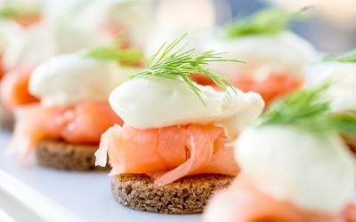 Smoked Salmon with Wasabi Cream on Pumpkin Seed Rye