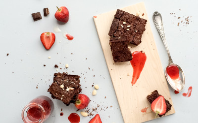 Chocolate Almond Brownies with Strawberry Coulis