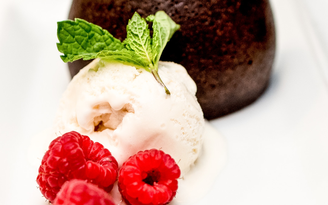 Chocolate Fondant with Raspberry Gel and Vanilla Ice Cream