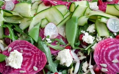 Raw Candy – Striped Beet, Baby Marrow, Feta & Pomegranate Salad