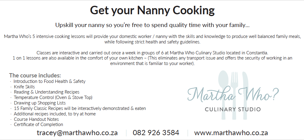 Get your Nanny Cooking with Martha Who ?